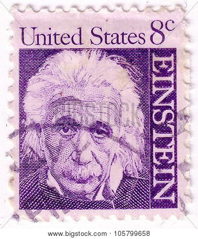 Usa - Circa 1966: A Postage Stamp Printed By Usa Shows Image Portrait Of Famous American Physicist A