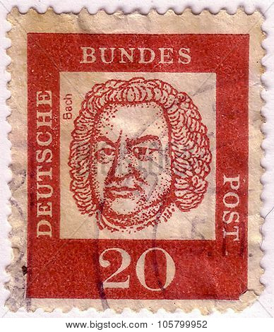 Germany - Circa 1961: A Stamp Printed In Germany Shows Portrait Of Johann Sebastian Bach (composer,