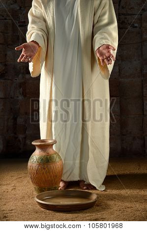 Jesus with water jar and pan inside vintage building