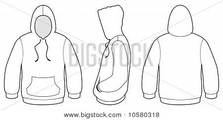 Hooded sweater template vector illustration.
