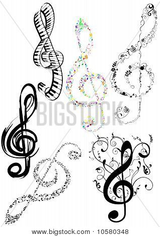 Abstract illustration of some G clef on white background