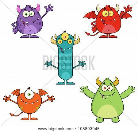 Five Monster Cartoon Characters