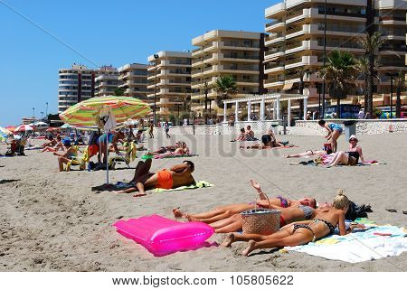 Holidaymakers on Fuengirola beach.