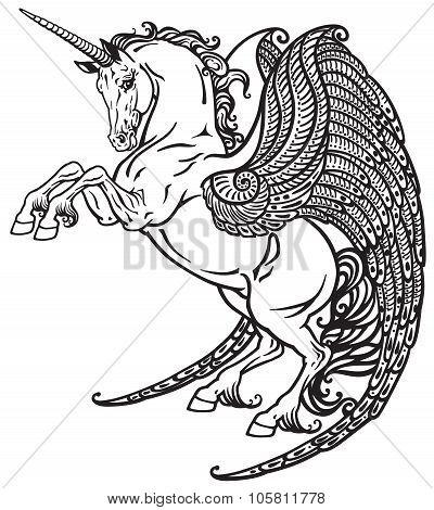 winged unicorn black and white