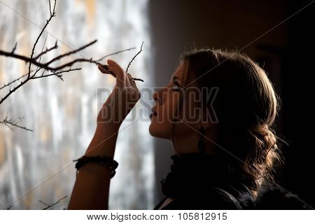 Girl Holds A Hand Tree Branch
