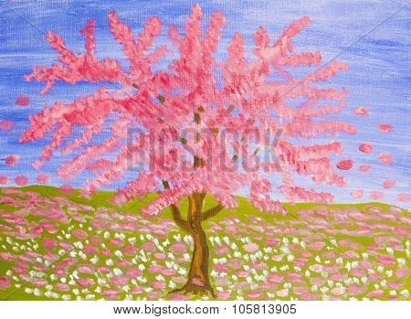 Pink Tree, Oil Painting