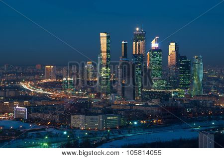 MOSCOW - JAN 25, 2015: Modern Moscow International Business Center at night. Investments in Moscow International Business Center was approximately 12 billion dollars