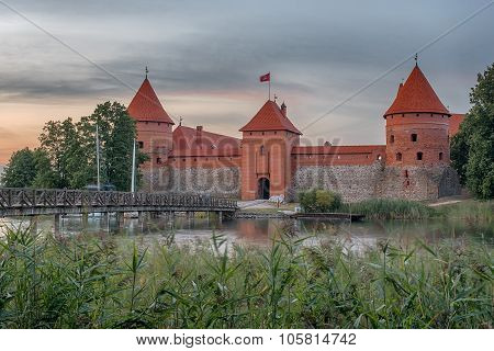 Trakai Island Castle in Lithuania next to Vilnius. Landmark in historical capital city of Grand Duchy of Lithuania, located in Galve lake