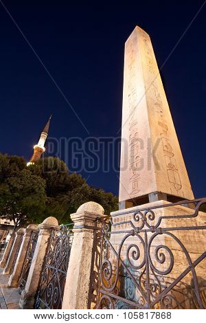 Obelisk And The Blue Mosque Minaret