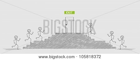 Exit Door And Running People