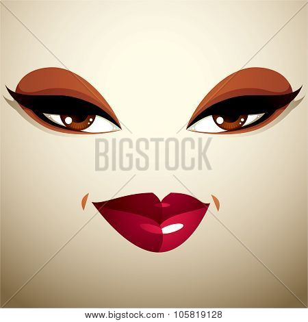 Attractive Woman With Stylish Bright Make-up. Sexy Caucasian Tricky Lady. Human Eyes And Lips Reflec
