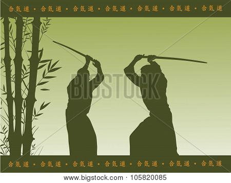 Illustration, Two Men Show Aikido.