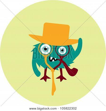 Freaky cute retro hipster alien monster