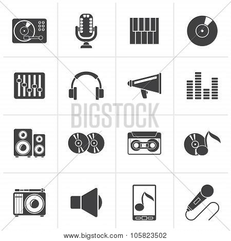 Black Music and audio equipment icons