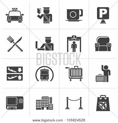 Black Airport, travel and transportation icons