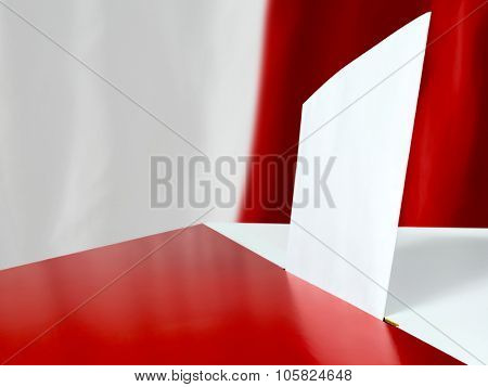 Voting card in the ballot box against Polish flag as background