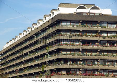 The Barbican Estate in the heart of London is famous for its floral display and the nearby arts cult
