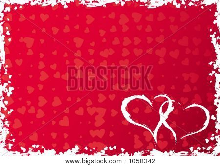 Valentines Grunge Frame With Hearts, Vector