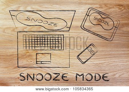 Eye masks on devices, with text Snooze Mode