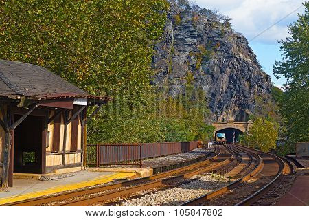 Harpers Ferry railroad tunnel in a historic town of West Virginia USA.