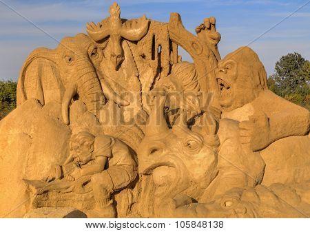 BURGAS, BULGARIA - OCTOBER 04: Sand sculpture in Burgas Sand Sculptures Festival on OCTOBER 04, 2015