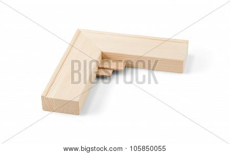 Detail Of Gallery Wrap Stretcher Bar Frames With Low Riser Isolated On White