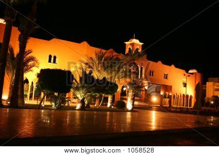 villa resort in egypt in night scene poster