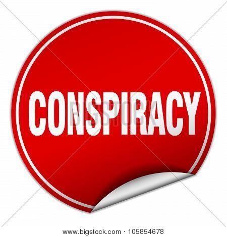 Conspiracy Round Red Sticker Isolated On White