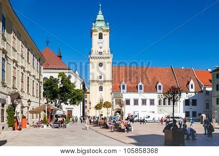 People At Main Square In Bratislava City