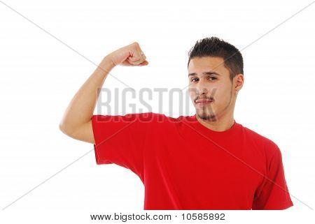 Skinny Guy Flexing His Bicep