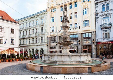 Maximilian Fountain At Main Square In Bratislava