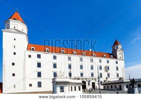 Tourists Near Main Gate Of Bratislava Castle