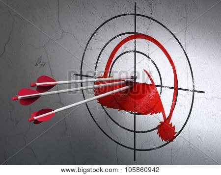 Entertainment, concept: arrows in Christmas Hat target on wall background