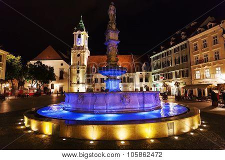 Roland Fountain In Bratislava In Night