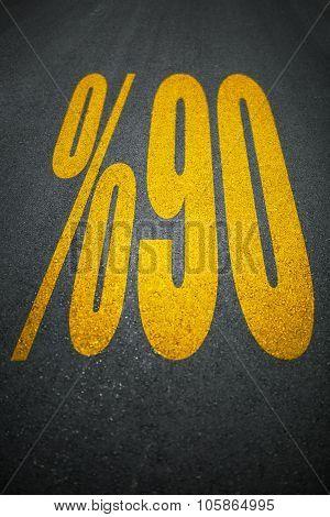 Percent Sign On Asphalt Road Sign