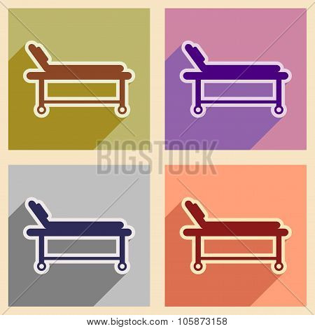 Icons of assembly medical stretcher in flat style