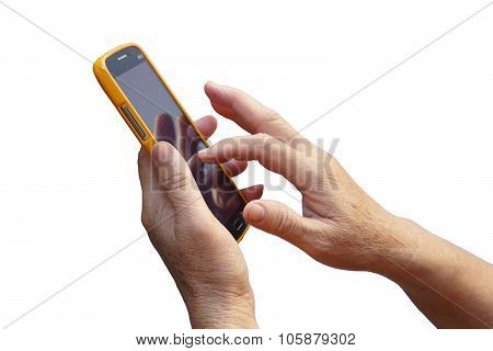 old hands of the elderly using smartphone - old generation people with new technology