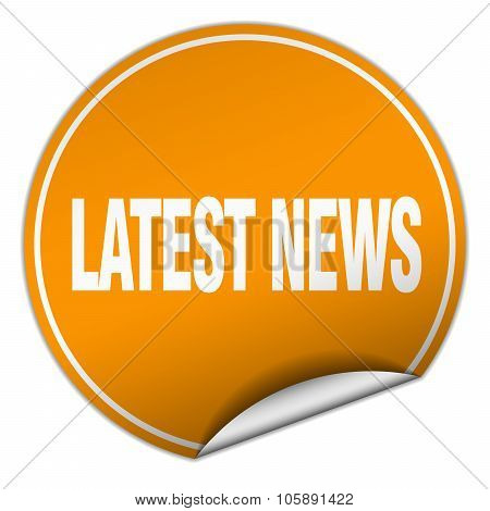 Latest News Round Orange Sticker Isolated On White