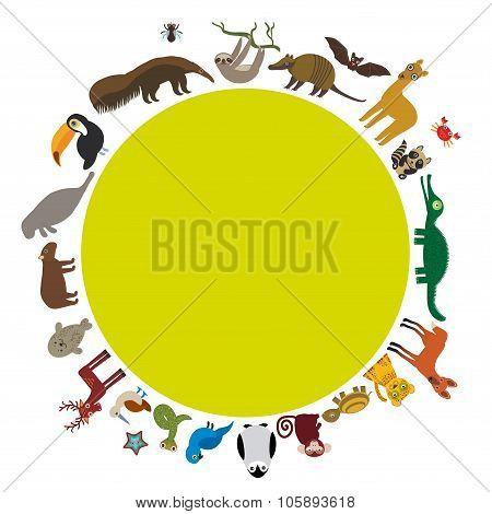 Round frame. Sloth anteater toucan lama bat seal armadillo boa manatee monkey dolphin Maned wolf rac