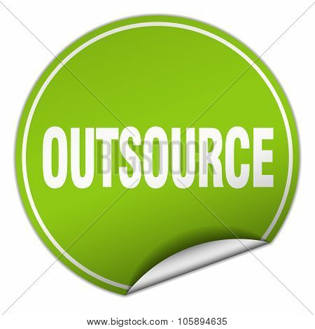Outsource Round Green Sticker Isolated On White