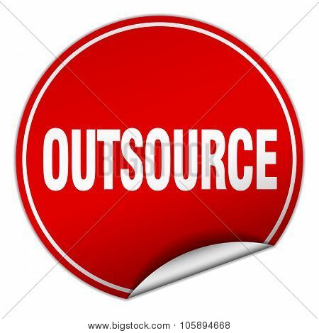 Outsource Round Red Sticker Isolated On White
