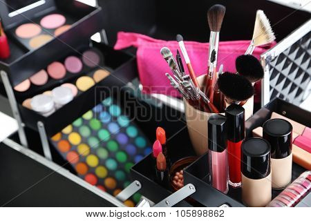 Make Up Case With Cosmetics On A White Background