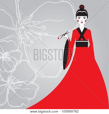 Beautiful Japanese woman in a red kimono holding sushi with chopsticks on a background linear cherry blossoms. The advertising character. The concept for the menu sushi bar. poster
