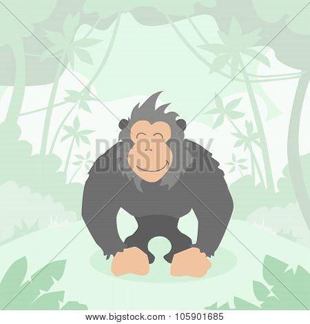 Cartoon Gorilla Green Jungle Forest Colorful