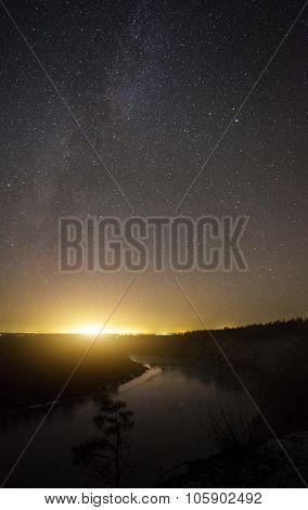 the beautiful night landscape and moonrise night