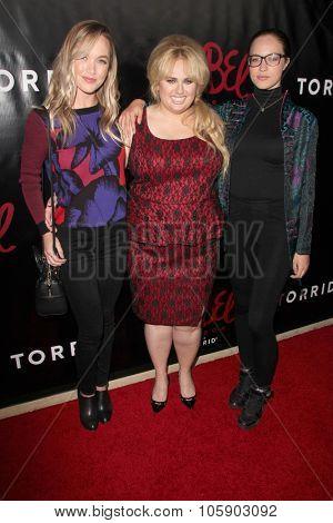 LOS ANGELES - OCT 22:  Kelley Jakle, Rebel Wilson, Alexis Knapp at the Rebel Wilson for Torrid Launch Party at the Milk Studios on October 22, 2015 in Los Angeles, CA