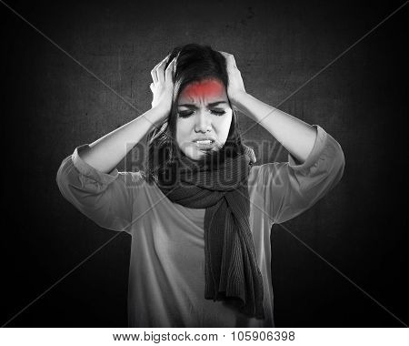 Young Sick Woman Having Headache