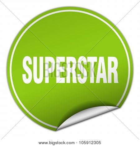 Superstar Round Green Sticker Isolated On White