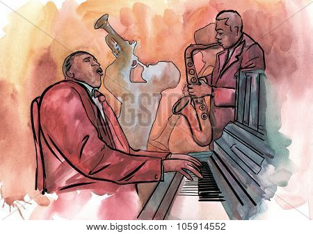Jazz trio playing jazz composition