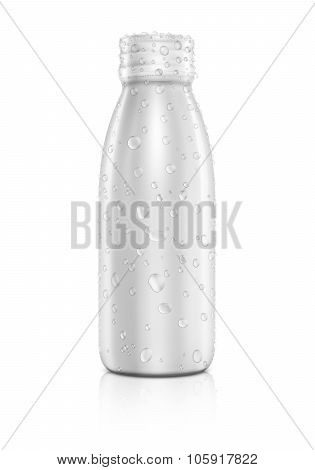 Blank Packaging Beverage Bottle With Water Drops Isolated On White Background